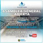CONVOCATORIA DE ASAMBLEA GENERAL INFORMATIVA Y ABIERTA A LA SOCIEDAD DEL CÍRCULO POR EL AGUA EN DEFENSA DEL TRASVASE TAJO-SEGURA